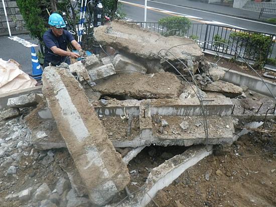 解体工事基礎コンクリート集積